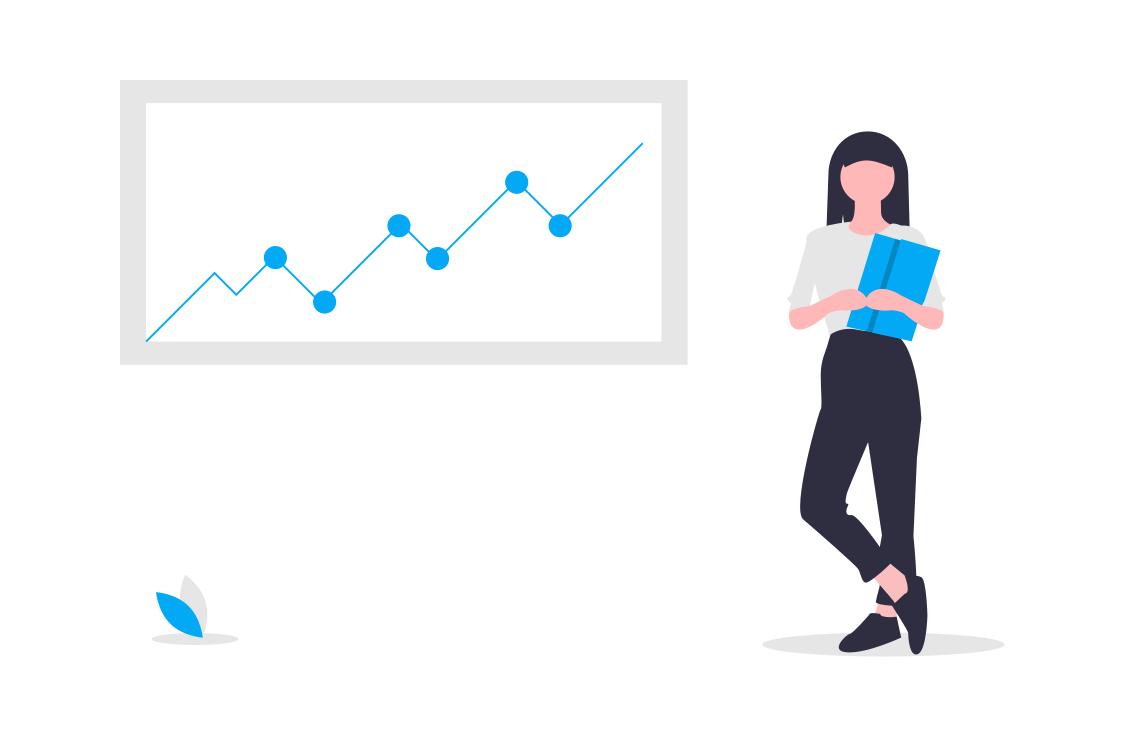 Pani z statystykami firmy oraz podnoszące się wyniki działalności