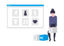 Kobieta robi zakupy w sklepie internetowym.